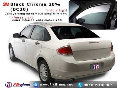 Contoh Mobil Dipasang Kaca Film 3M Black Chrome 20%